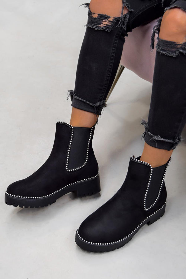 MOVE OVER Chelsea Studded Ankle Boots - Black Faux Suede - 1