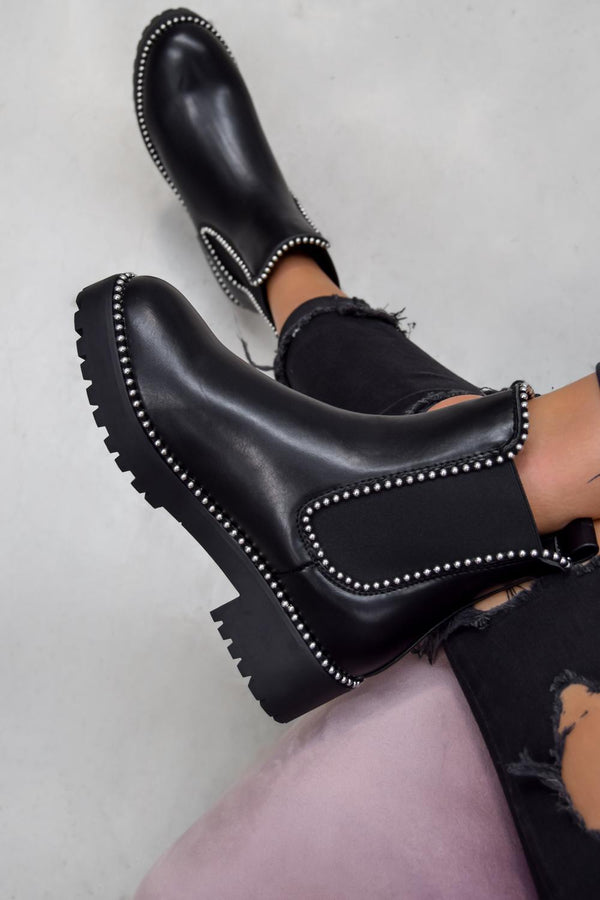 MOVE OVER Chelsea Studded Ankle Boots - Black Fuax Suede - 1
