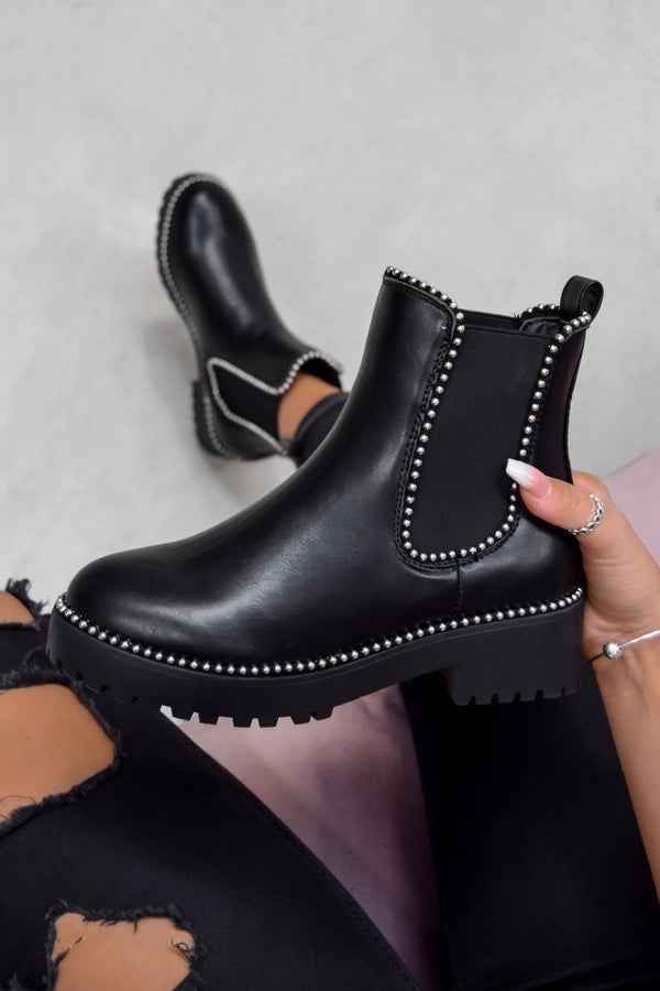 MOVE OVER Chelsea Studded Ankle Boots - Black Fuax Suede