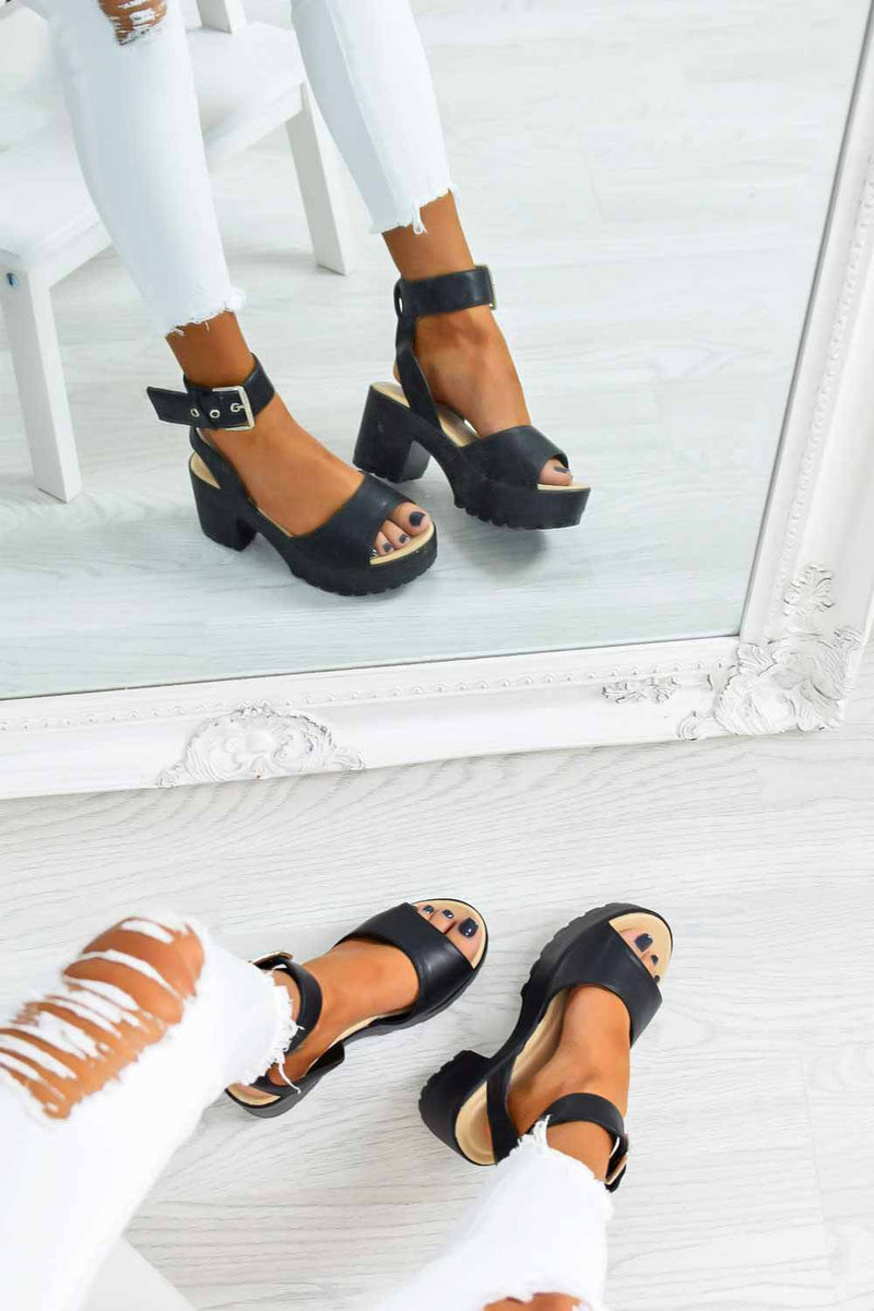 MOVE IT Chunky Platform Buckle Sandals - Black PU - 1