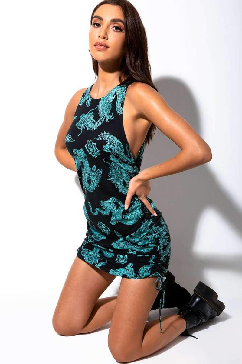 Motel Rocks Ardilla Dragon Print Dress - Black/Mint