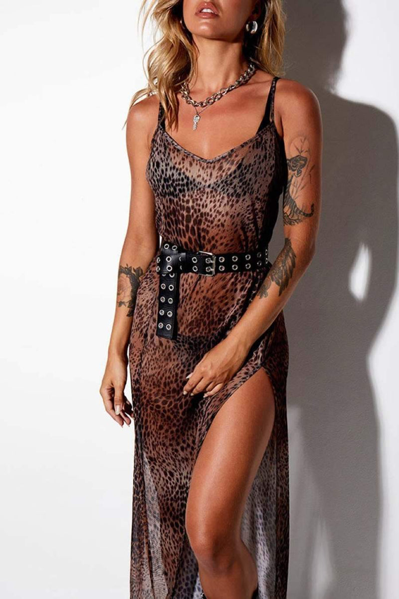 Motel Rocks Batis Mesh Maxi Dress - Cheetah Brown - 1