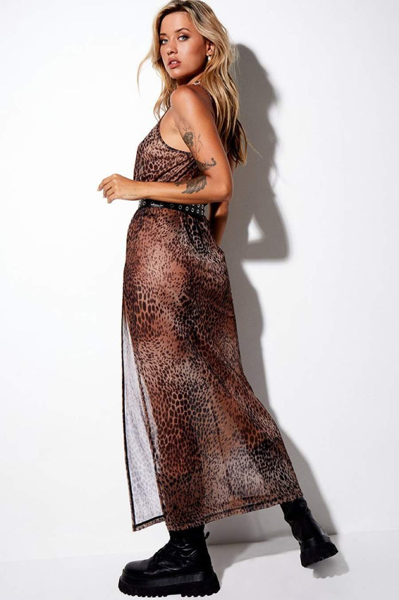Motel Rocks Batis Mesh Maxi Dress - Cheetah Brown - 3
