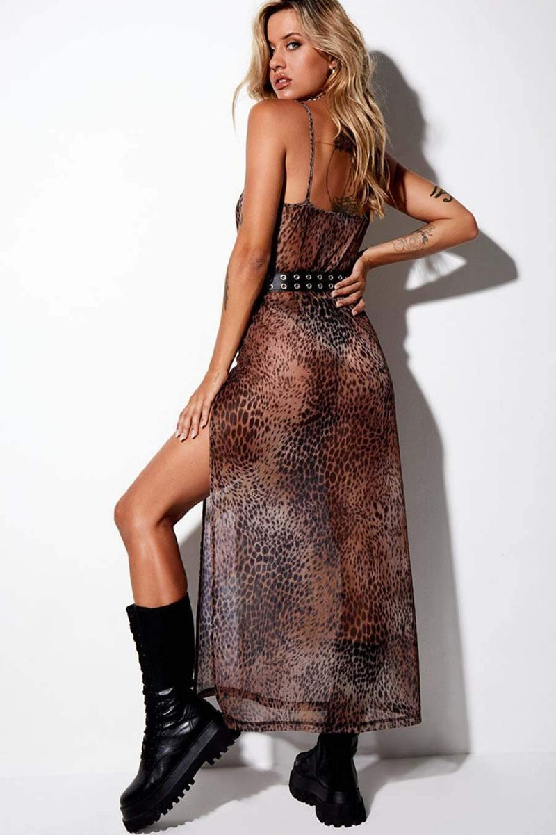 Motel Rocks Batis Mesh Maxi Dress - Cheetah Brown - 2