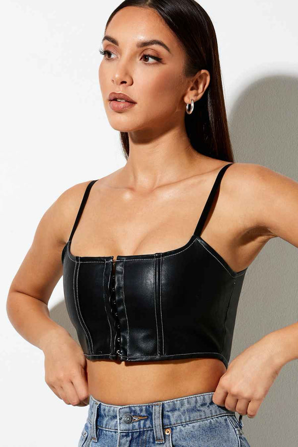 Motel Rocks Black Strappy Crop Top - Black