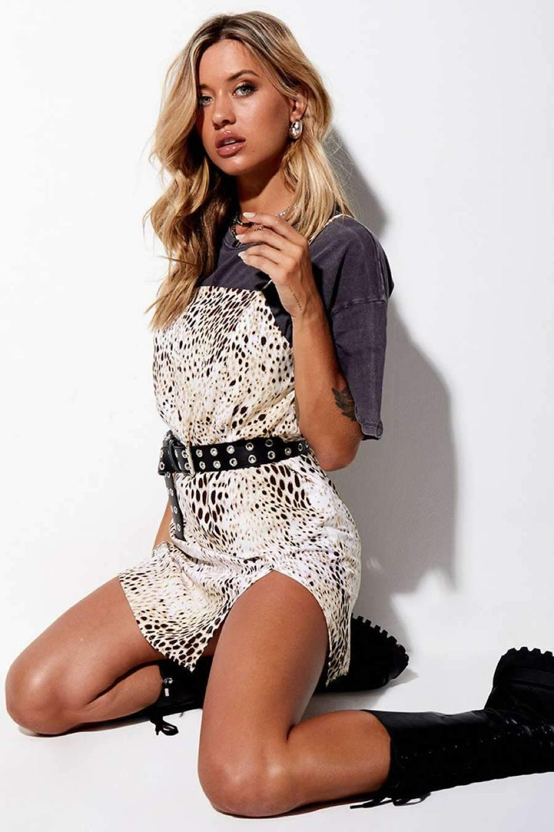 Motel Rocks Datista Slip Leopard Print Dress - Sand - 1