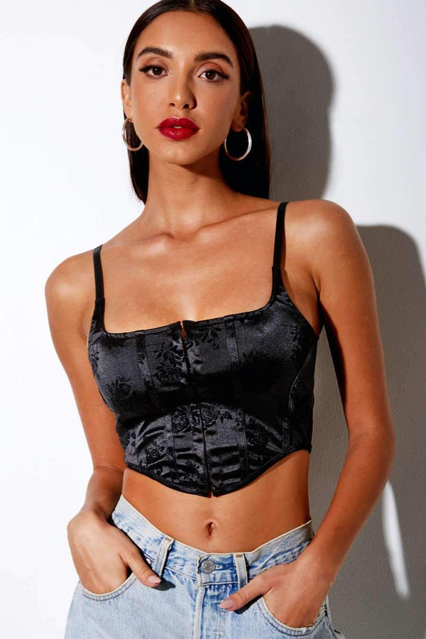 Motel Rocks Elecia Rose Flock Crop Top - Black