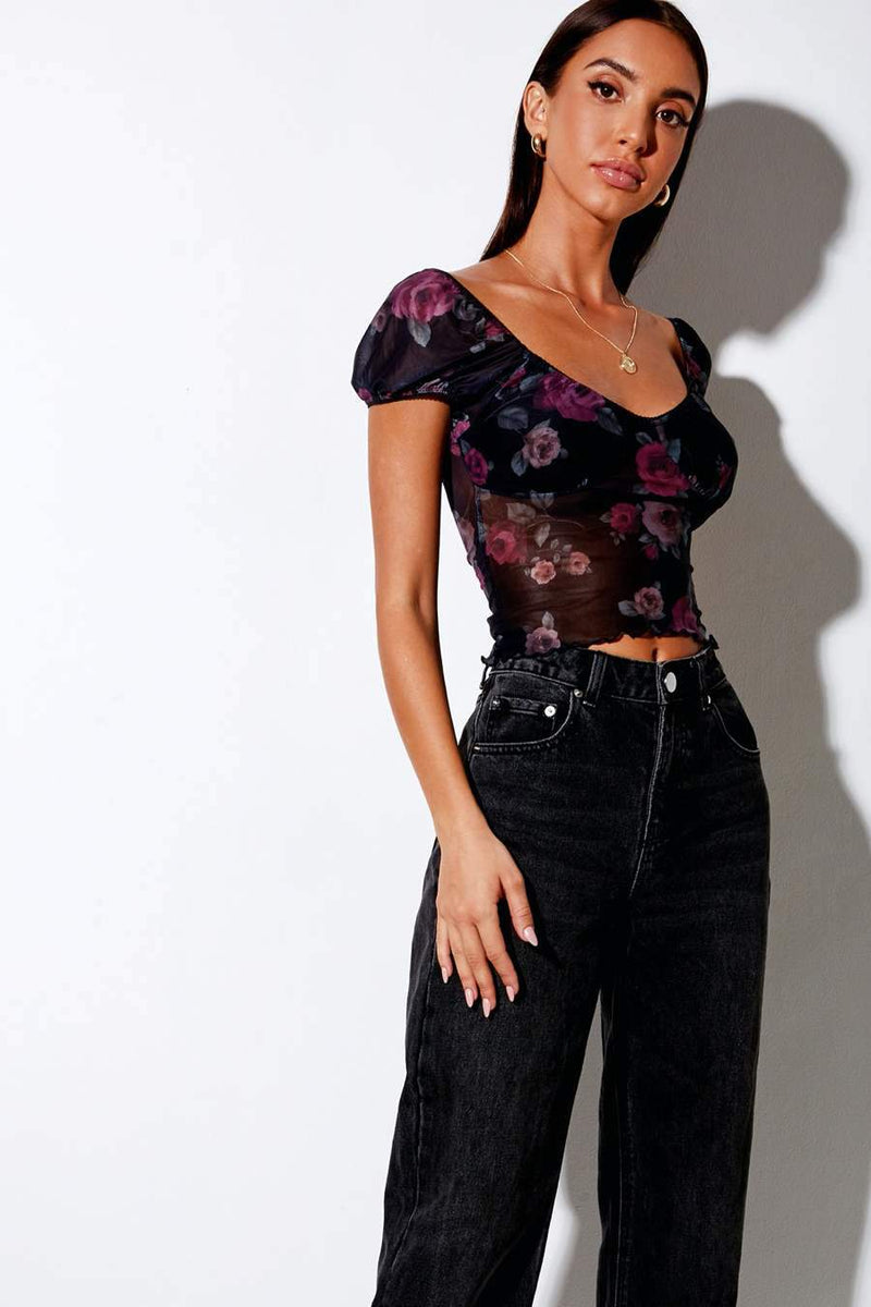 Motel Rocks Glasty Gothic Rose Crop Top - Black - 2
