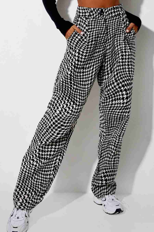 Motel Rocks High Waisted Trousers - Dogtooth - 1