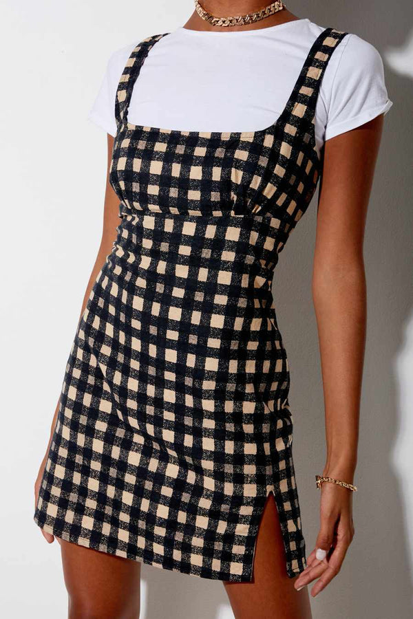 Motel Rocks Mehra 90's Grunge Dress - Black Check
