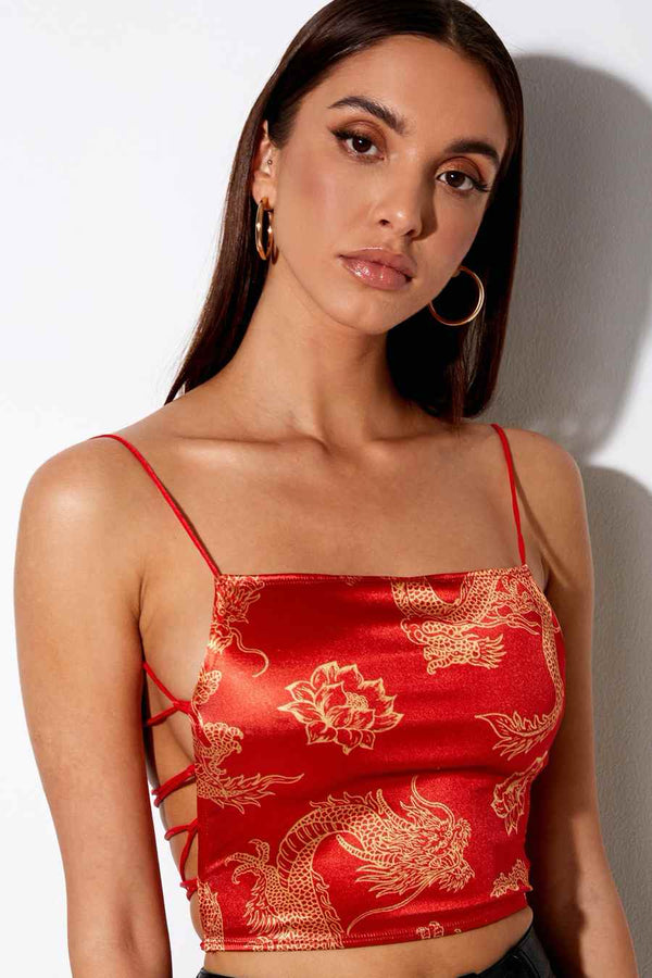 Motel Rocks Ozka Dragon Crop Top - Red - 1
