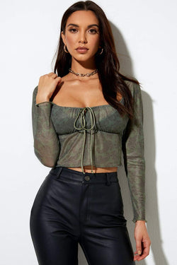 Motel Rocks Sanila Mesh Crop Top - Green