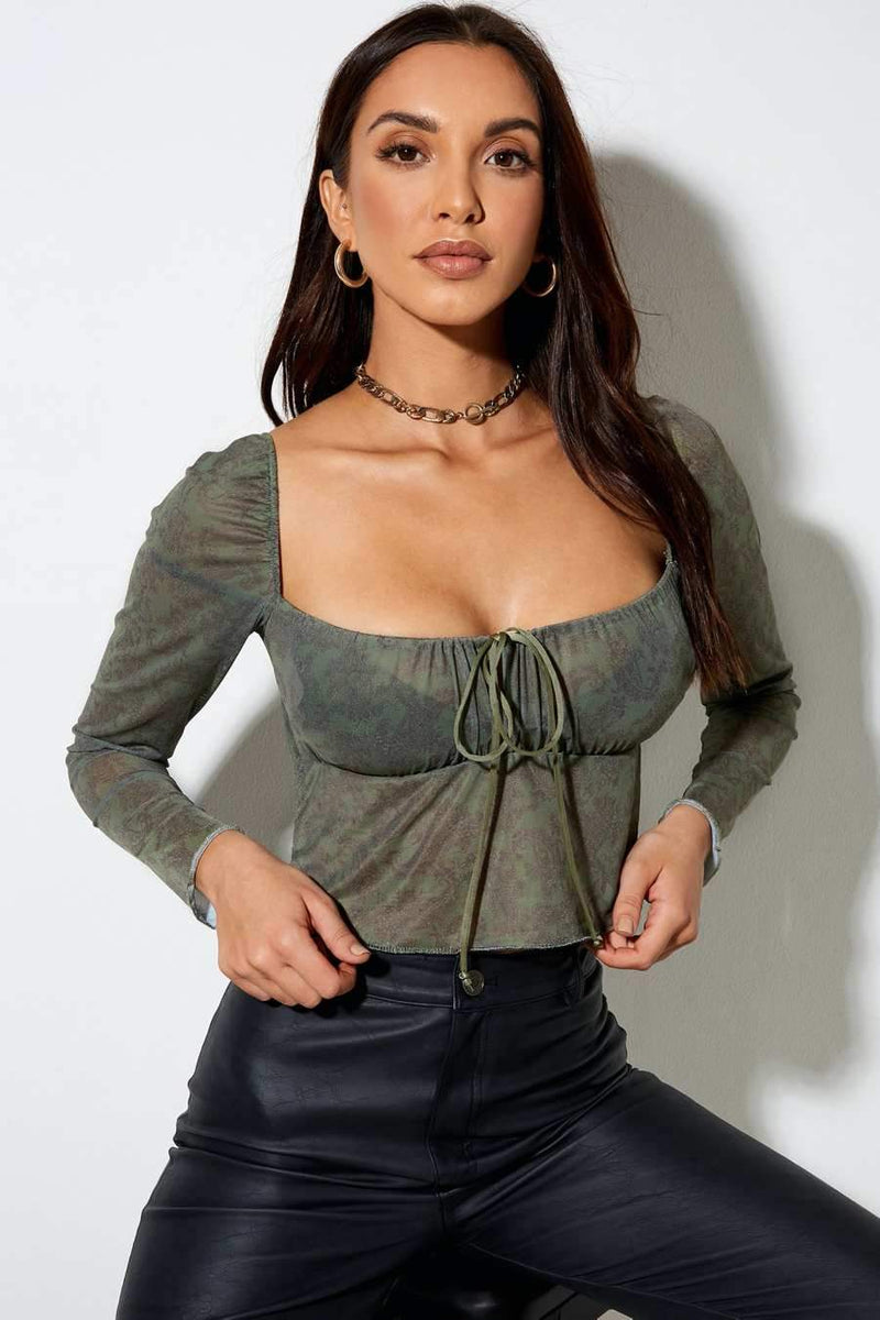 Motel Rocks Sanila Mesh Crop Top - Green - 1