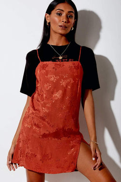 Motel Rocks Satin Rose Dress - Copper