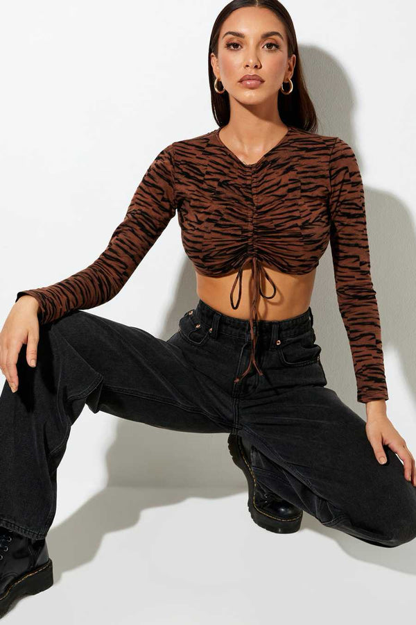 Motel Rocks Sau Tiger Print Crop Top - Brown