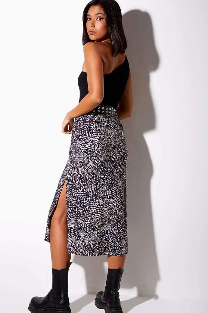 Motel Rocks Tindra Croc Print Midi Skirt - Black/White - 3