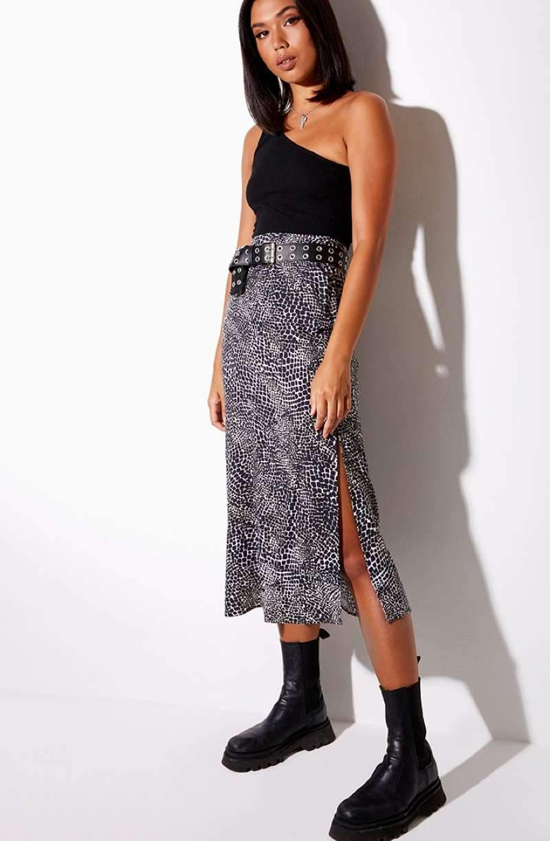 Motel Rocks Tindra Croc Print Midi Skirt - Black/White - 1