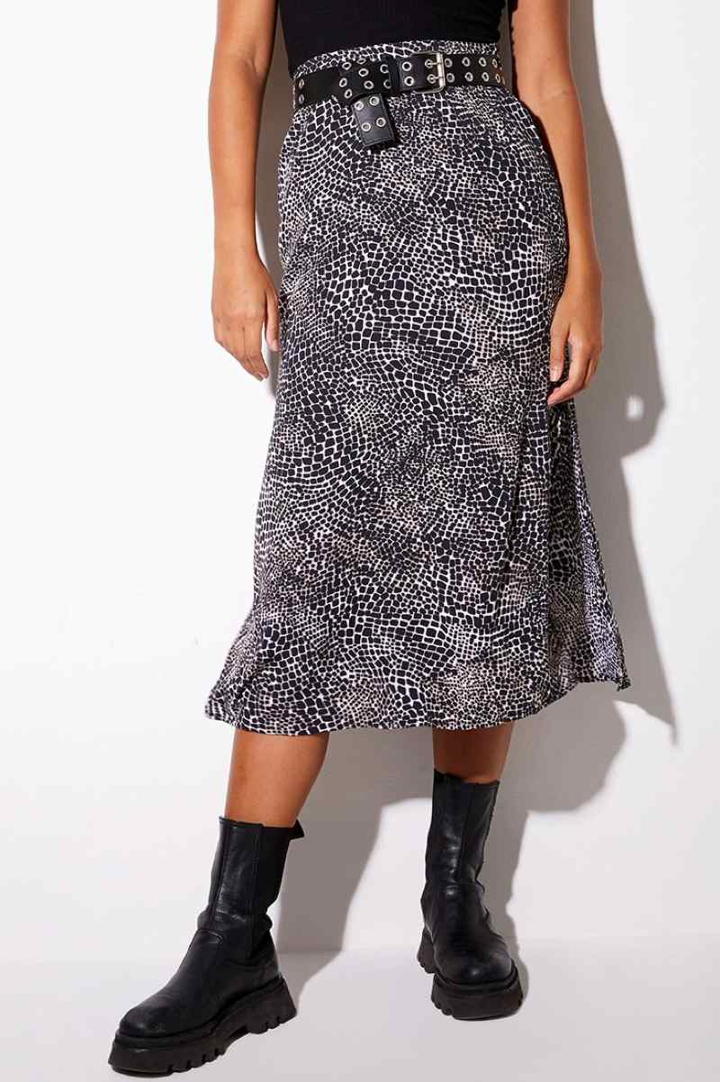 Motel Rocks Tindra Croc Print Midi Skirt - Black/White - 2