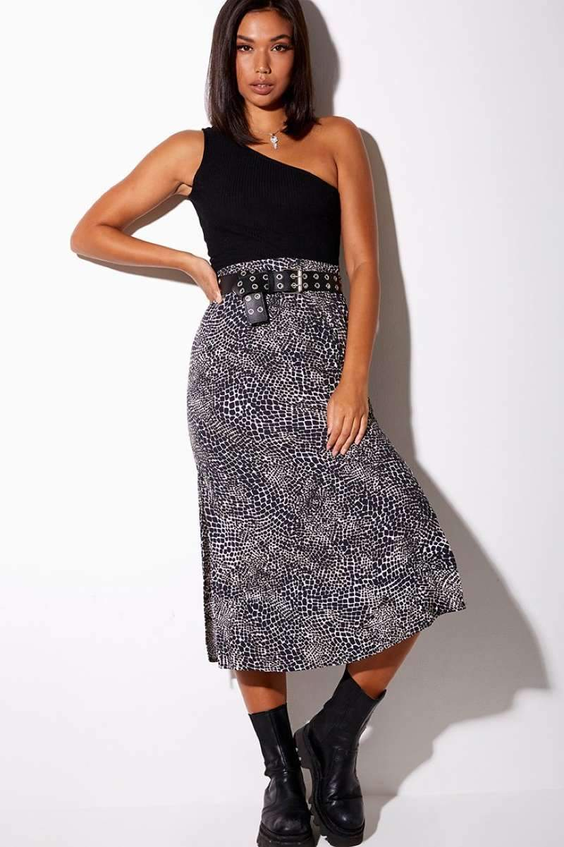 Motel Rocks Tindra Croc Print Midi Skirt - Black/White