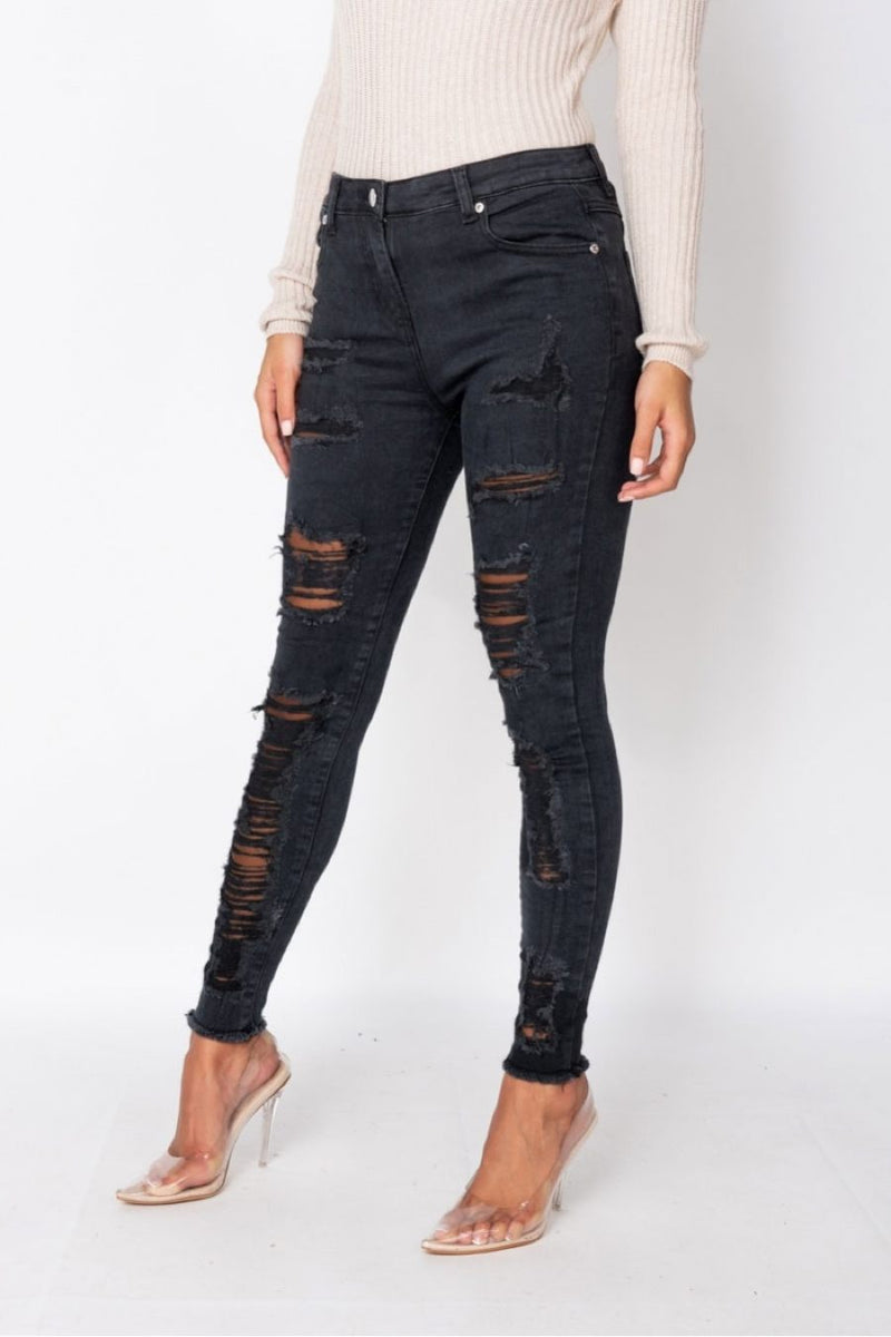 Multi Rip High Waisted Skinny Jeans - 1