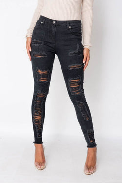 Multi Rip High Waisted Skinny Jeans - Black - 2