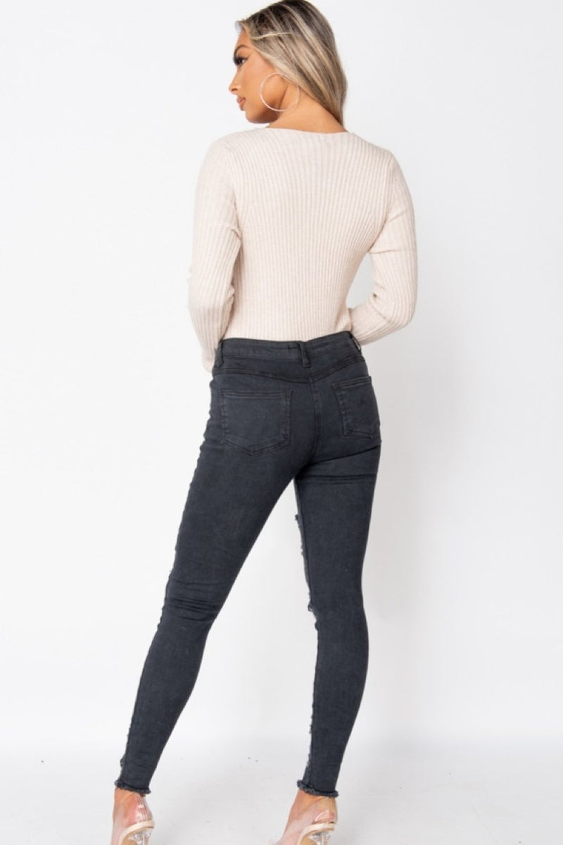 Multi Rip High Waisted Skinny Jeans - 3