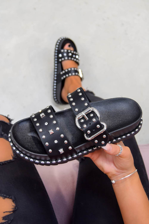 NEED ME Chunky Studded Buckle Sandals - Black/Silver
