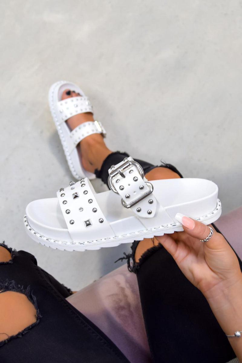 NEED ME Chunky Studded Buckle Sandals - White/Silver