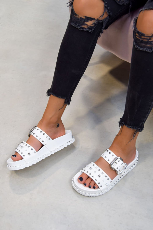 NEED ME Chunky Studded Buckle Sandals - White/Silver - 1