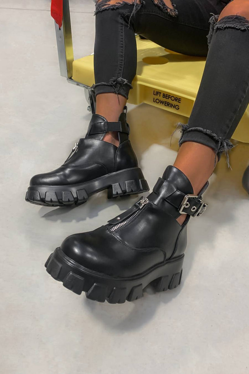 NEED TO Zip Front Chunky Ankle Boots - Black PU