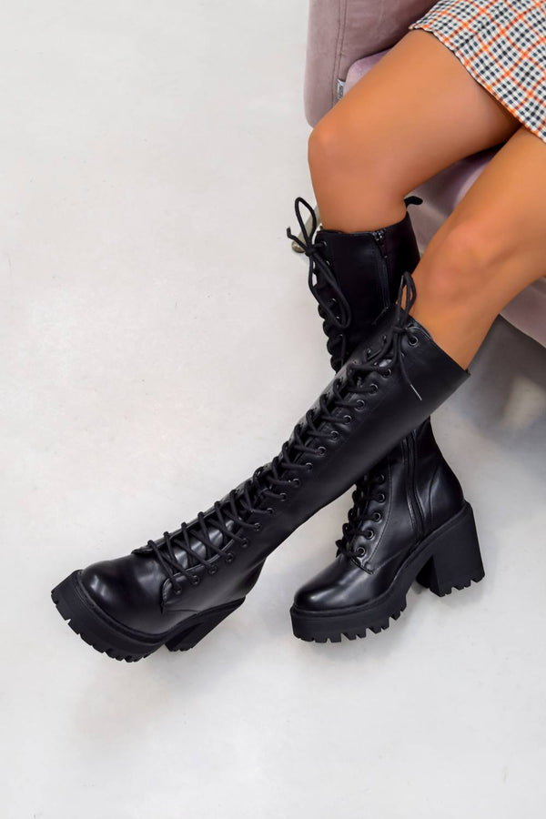 NEW LEVELS Chunky Platform Knee High Boots - Black PU