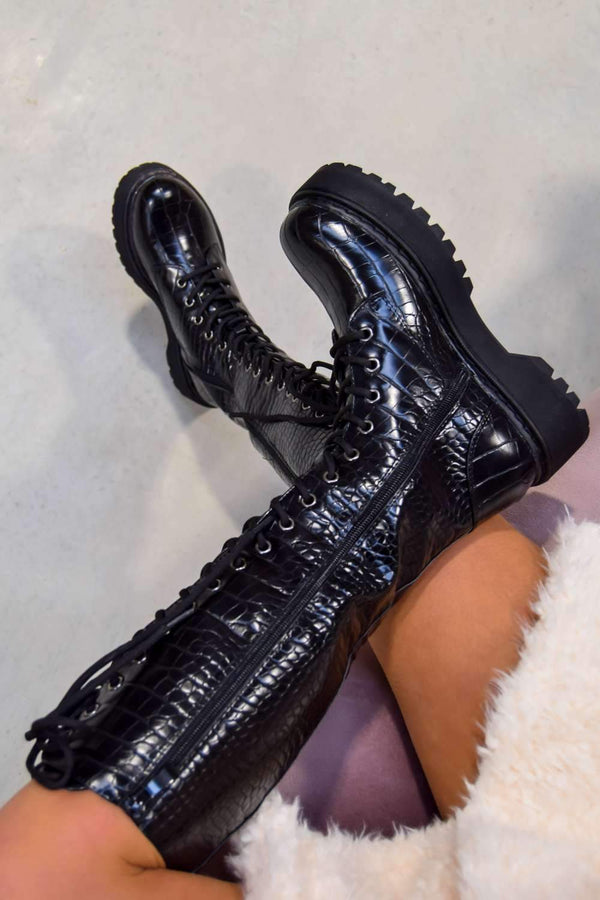 NEW LEVELS Chunky Platform Knee High Boots - Black Croc