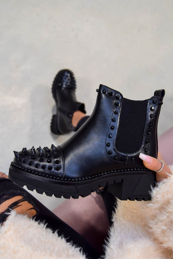 NEXT LEVEL Spike Studded Chelsea Ankle Boots - Black PU