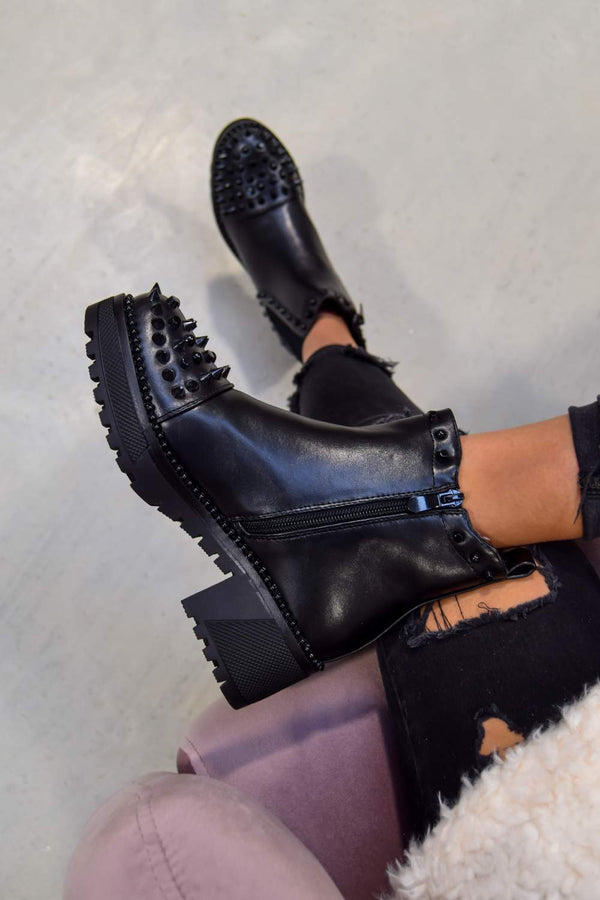 NEXT LEVEL Spike Studded Chelsea Ankle Boots - Black PU - 1