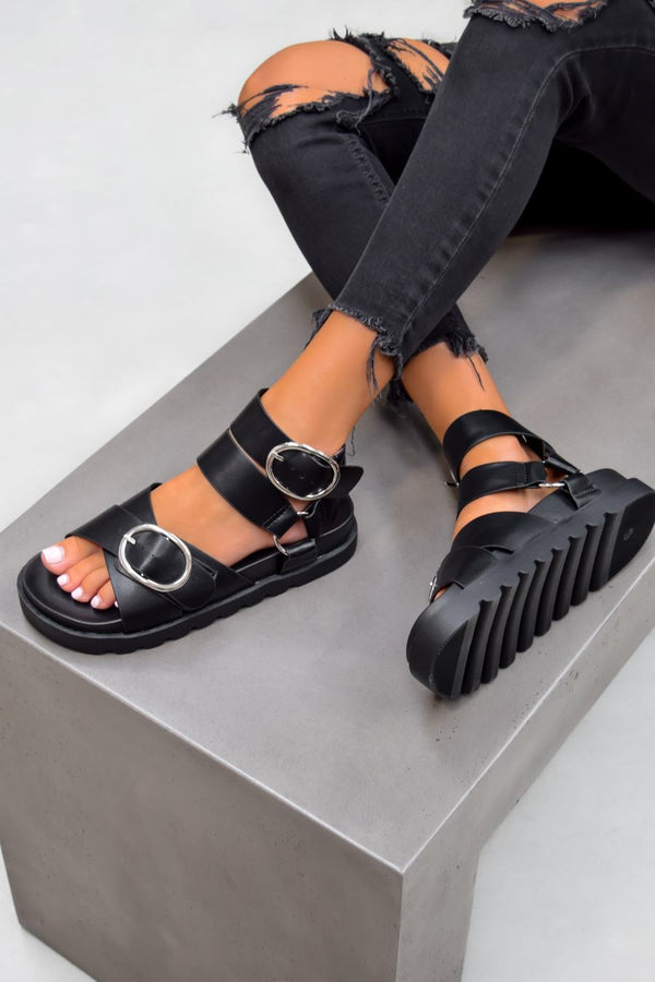 NOA Chunky Buckle Sandals - Black