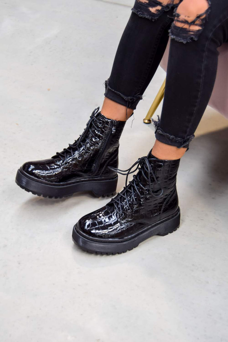 ON YOU Chunky Platform Lace Up Ankle Boots - Black Croc - 2