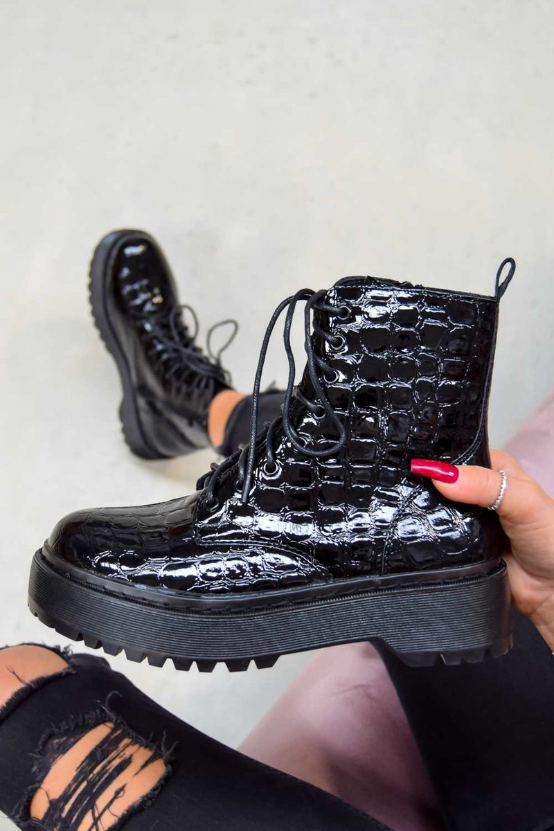 ON YOU Chunky Platform Lace Up Ankle Boots - Black Croc