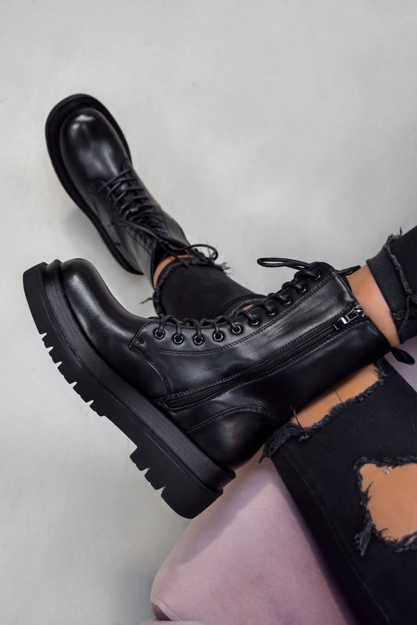 ORLA Chunky Sole Lace Up Ankle Boots - Black PU - 1