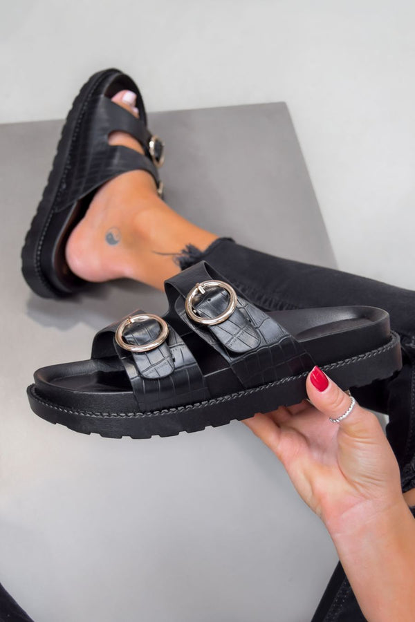 OVER IT Chunky Buckle Sandals - Black Croc