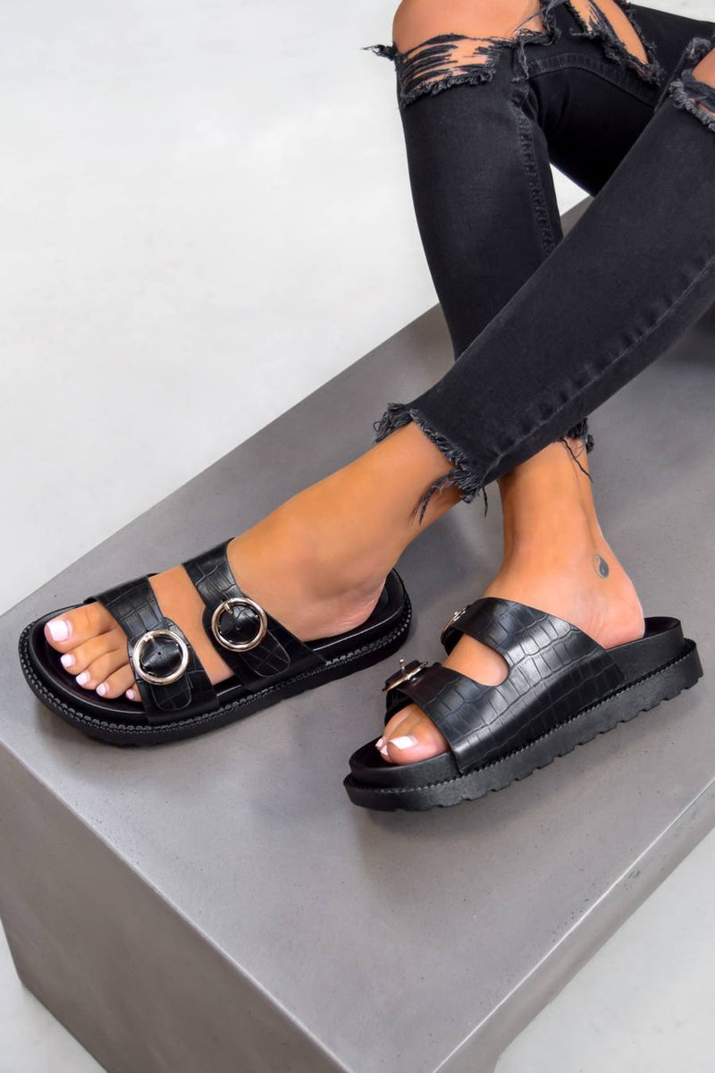 OVER IT Chunky Buckle Sandals - Black Croc - 1