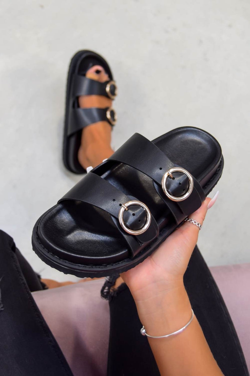 OVER IT Chunky Buckle Sandals - Black/Gold