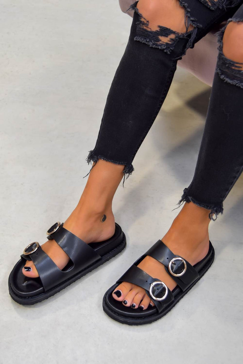 OVER IT Chunky Buckle Sandals - Black/Gold - 1