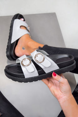 OVER IT Chunky Buckle Sandals - Grey Croc