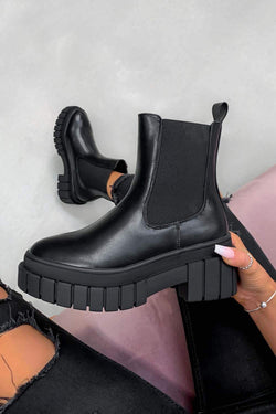 OVER IT Chunky Platform Ankle Boots - Black