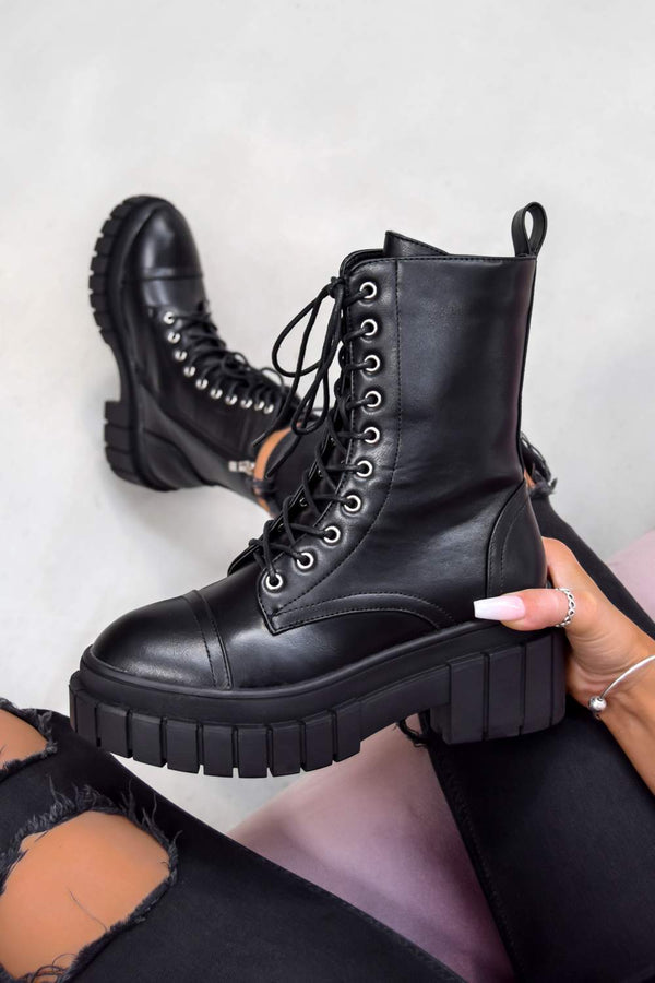 OVER YOU Chunky Platform Ankle Boots - Black - 2