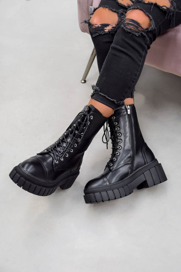 OVER YOU Chunky Platform Ankle Boots - Black