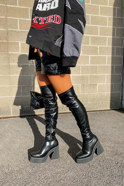 OWN IT Platform Knee High Boots - Black PU - 1