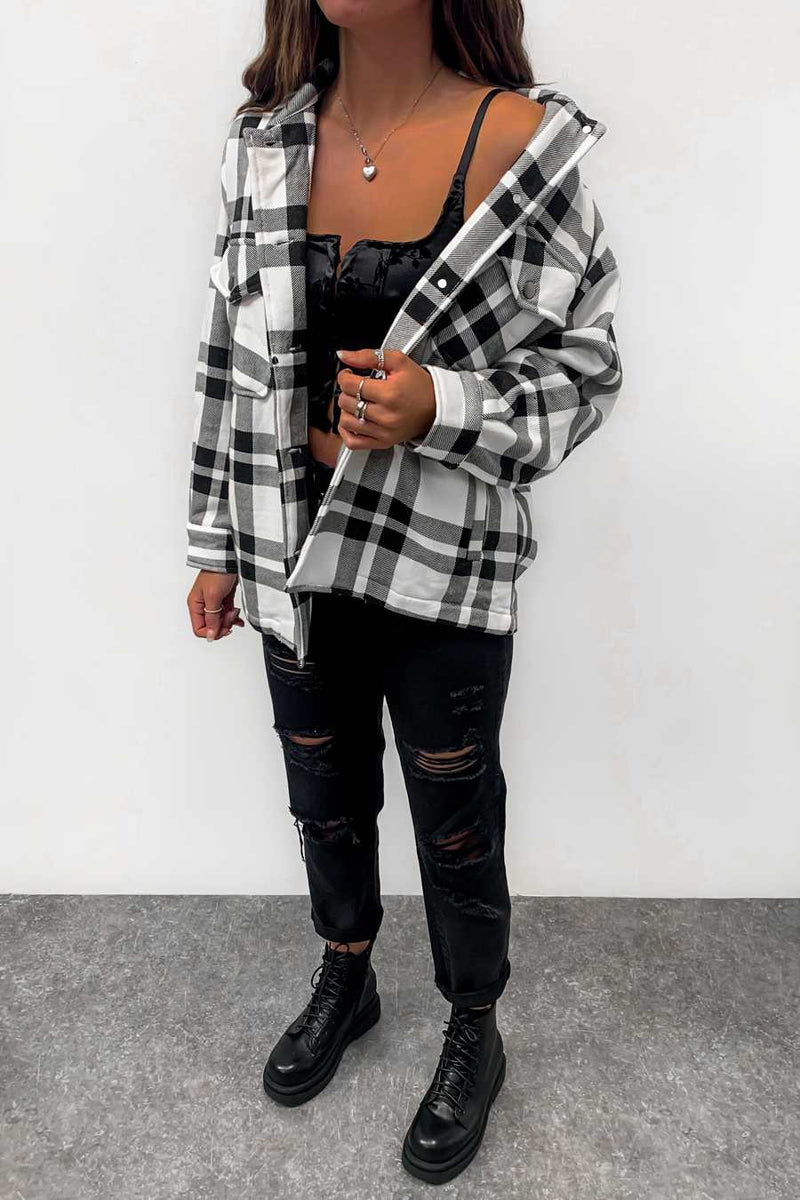 Oversized Checked Shacket - Black/White - 1