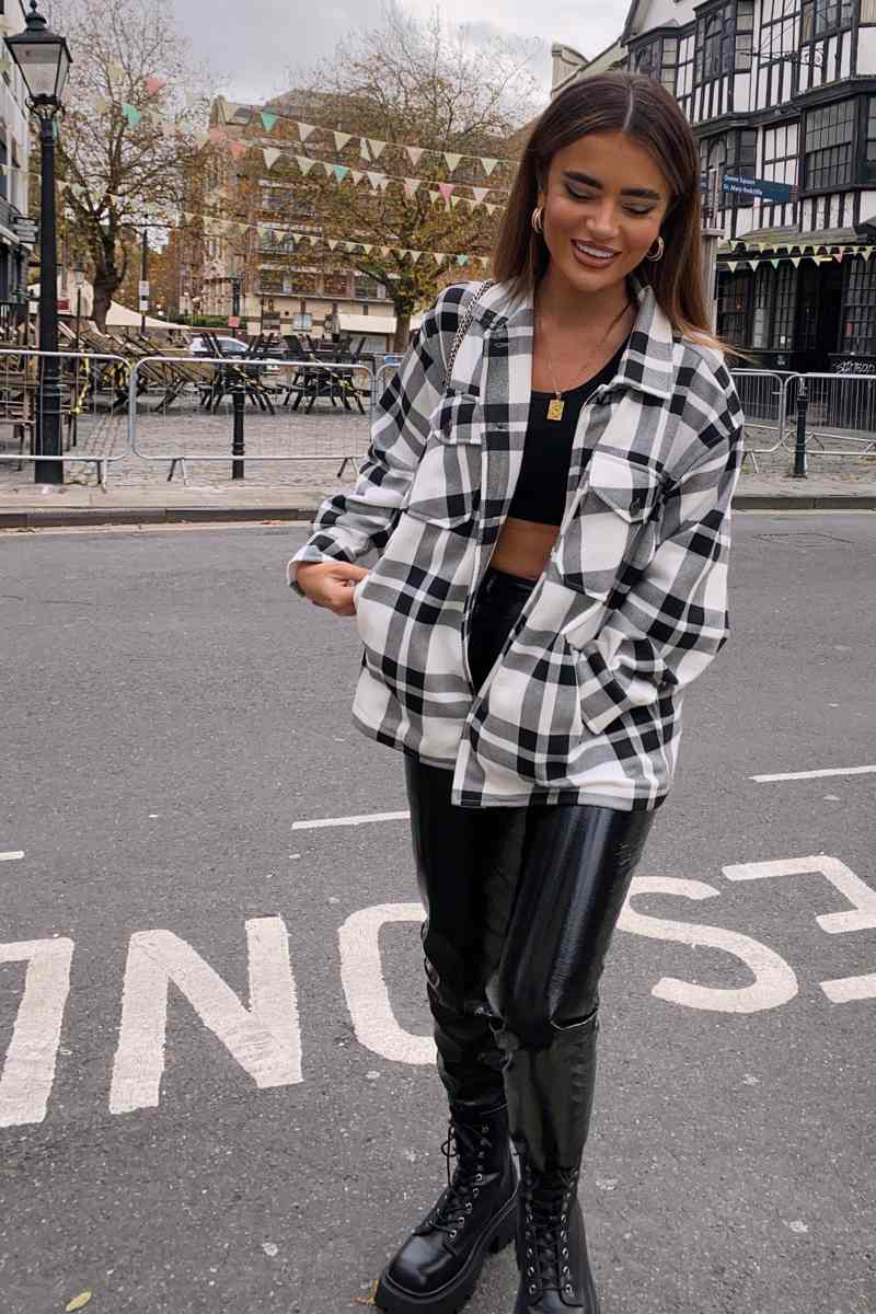 Oversized Checked Shacket - Black/White - 2