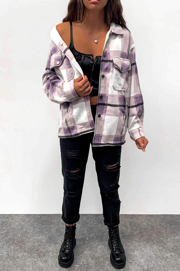 Oversized Checked Shacket - Lilac/White -1